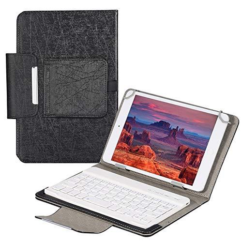 QYiD Funda con Teclado Universal para 9-10.5 Pulgadas Tablet, Carcasa Delgada con Teclado Bluetooth para 9-10.5' (Samsung Tab 9.6/10.1/10.5, iPad 9.7-10.5', Dragon Touch 10', Huawei 9.6-10.1), Negro