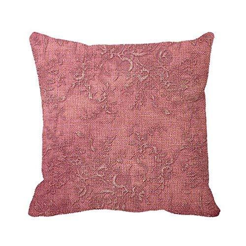 QDAS Funda de Almohada Textura de Malva Vides Floral Rosa Vintage Victoriano Imprimir Funda de Almohada