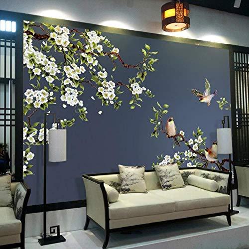 Mazhant Carta Da Parati Personalizzata Di Qualsiasi Dimensione Carta Da Parati 3D Fiori E Uccelli Stile Cinese Pittura Murale Dipinta A Mano Adesivi Impermeabili Autoadesivi-350X245cm
