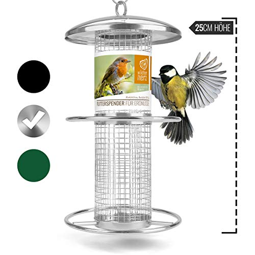 wild dier hart   notenvoederdispenser 26 cm - voor vogels met roestvrij stalen rooster & aanvliegringen, voederzuil voor vogelvoer, voederstation voor het hele jaar door voer van wilde vogels, zilver