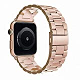 Simpeak Correa Compatible con Apple Watch Series 4 / Series 3 / Series 2 / Series 1 Correa 38mm de Acero Inoxidable Compatible con iWatch Todos los Modelos 38mm, Rosa