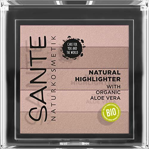 SANTE Naturkosmetik Natural Highlighter 01 Nude, Bronzer, mit lichtrefkletierenden Schimmerpigmenten für strahlende Highlights, natürlicher Glow, mit wertvolle Bio-Extrakten & Macadamiaöl, Vegan, 7g