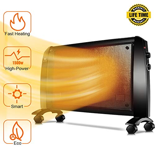 Mica Panel Heater - 1500W Wall Heater with Free Stand, 350 Sq Ft Coverage, Low Noise, Smart Thermostat, Rapid Heating, Electric Heater with Overheating & Tip-Over Protection, Allergy-Friendly Electric Heater Space