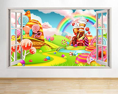 Muurstickers Cartoon Snoep Snoepjes Land Kids Window Decal 3D Art Vinyl Kamer C476 12