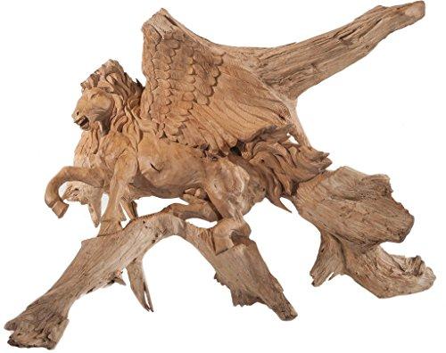 WINDALF Das geflügelte Pferd Odins Holzfigur SLEIPNIR 110 cm Handgeschnitzt aus Wurzelholz