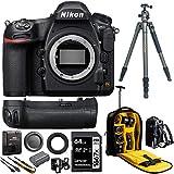 Nikon D850 FX-Format Full Frame Digital SLR DSLR WiFi 4K Camera Body Power Travel Bundle with Battery Grip + Vanguard VEO 2 Tripod + Deco Gear Photography Backpack Luggage Case + 64GB Card