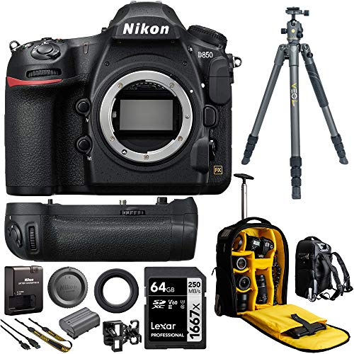 Nikon D850 FX-Format Full Frame Digital SLR DSLR WiFi 4K Camera Body Power Travel Bundle with...
