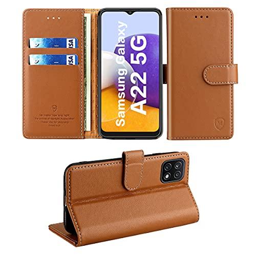 FMPC Hülle für Samsung Galaxy A22 5G,Wallet Serie Handyhülle für Samsung Galaxy A22 5G Premium Leder Etui Magnetisch Flip Schutzhülle Klapphülle Tasche 360 Grad Stoßfest Hülle Holster-Braun