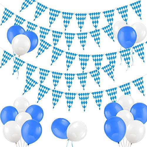 HOWAF Oktoberfest Deko, 36m blau / weiße bayrisch Wiesn Dekoration, Oktoberfest Girlande Banner Wimpelkette Draußen Outdoor Dekoration Bayern Bayrisch Flagge deko