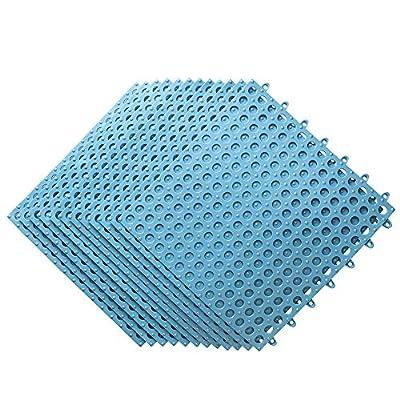 12PCS Interlocking Soft PVC Floor Tiles, No-Slip Pool Shower Bathroom Kitchen Mat with Drain Hole 11.75'' x 11.75'' Decking Tiles Outdoor and Indoor