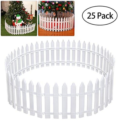 Bestoyard Arbre de Noël Décoration de clôture en plastique Blanc Clôture miniature Home Garden Décoration de sapin de Noël Fête de mariage de Noël (25 pièces)