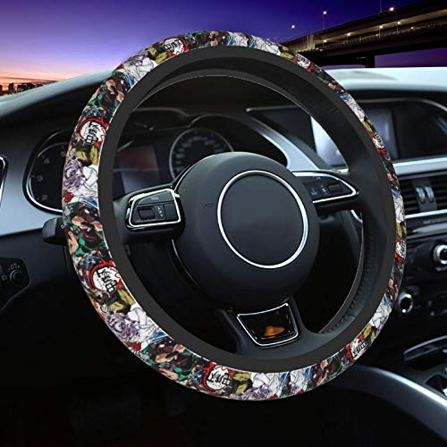 Dragongsj Demon Slayer Men Women Car Steering Wheel Cover,Kawaii Anime Neoprene Car Steering Wheel Covers Anti Slip,Universal 15 Inch Elastic Steering Wheel Wrap Cover,for Most Cars,SUV,Trucks,Van