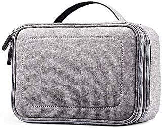 SODIAL Gray 3 Layers Waterproof Makeup Bag Cosmetic Bags Travel Organizer Train Case with Adjustable Dividers for Cosmetics Makeup Brushes