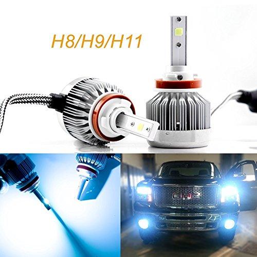 Xotic Tech 2pcs H8 H9 H11 Ice Blue 8000K COB LED Headlight Bulbs Conversion Kit for High/Low Beam Lights