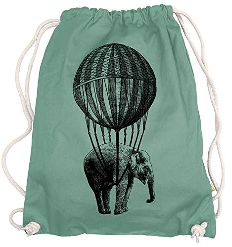 Ma2ca® - Big Ballon Elephant Gymsac Turnbeutel - Stoffbeutel Tasche Hipster Sportbeutel Rucksack Bedruckt Elefant