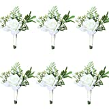 WeddingBobDIY 6Pieces/lot Groom Boutonniere Man Women Bride Wrist Corsage Artificial Wedding Flowers Party Decoration (Ivory, Boutonniere)