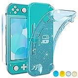 HEYSTOP Carcasa Nintendo Switch Lite, Funda Protectora para Nintendo Switch Lite con Protector de Pantalla para Nintendo Switch Lite Console y Joy Cons con 4 Agarres para el Pulgar, Turquoise Glitter