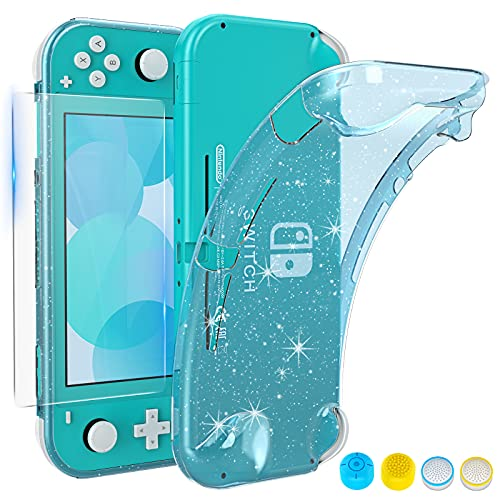 HEYSTOP Case Compatible with Nintendo Switch Lite, with Tempered Glass Screen Protector and 4 Thumb Grip, TPU Protective Cover for Switch Lite with Anti-Scratch/Anti-Dust (Turquoise)