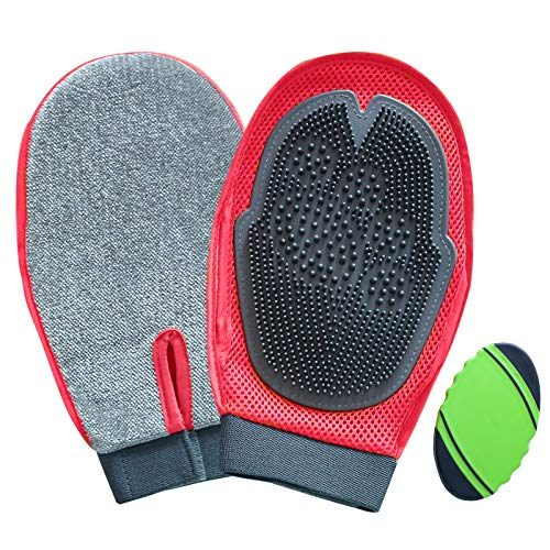 Pet 2 in 1 Grooming Glove,Gentle Deshedding & Massage,Velvet Cover to Remove Hair on Furniture,Clothes and Carpet,Ideal for Big Dogs/Cats or Horses -1 Pair Red with 1 Bristle Brush