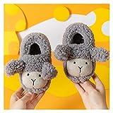 Youpin Zapatillas de invierno para niños y niñas, cálidas en forma de oveja, con diseño de dibujos animados, para niños y niñas (color: gris, talla del zapato: plantilla 200, 19 cm)