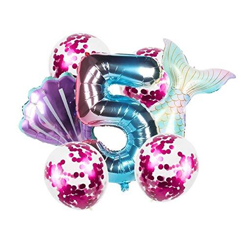 ZHEMAIDZ Ballon 8 stücke Mermaid Theme Party Ballons 0-9 Anzahl Folienballon 1. 2. 3. Geburtstagsfeier Dekoration décoration (Color : 32inch Number 5)
