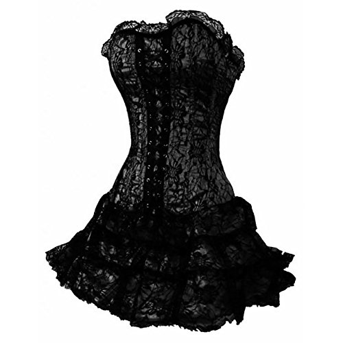 DISSA Gothic Lace Trim Damen Corsage Korsett mit G-String,Schwarz,M