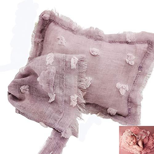WESEEDOO Newborn Baby Kostüm Fotoshooting Korb DIY Kissen-Foto-Set Käsetuch Hilfskissen Fotografie Prop Light Purple