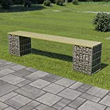Outdoor Seating Gabion Bench 180 cm Galvanised Steel and Pinewood