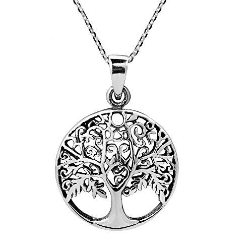 AeraVida Flourishing Fruitful Tree of Life .925 Sterling Silver Pendant Necklace