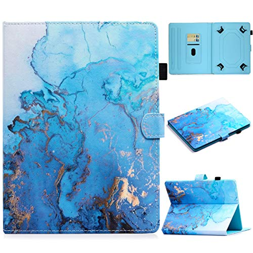 PapyHall 10 inch Tablet Protective Case PU Leather Stand Folio Case Cover Universal Case for 9.0-10.5 inch Tablet iPad/Samsung/Kindle/Huawei/Lenovo, Marble Blue