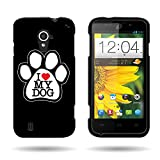 CoverON Hard Slim Design Case for ZTE Source - with Cover Removal Pry Tool - Black White Dog Paw