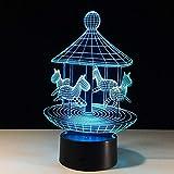 Lámpara de carrusel 3D Luz de noche de dormitorio con luz de mesa 3D de 7 colores para niños Navidad