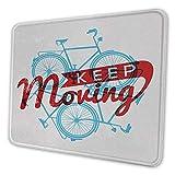 Retro Schreibtisch Pad halten es in Bewegung Motivationssatz Hipster Lifestyle Fahrrad Grunge Display Mauspad für Frauen Büro Himmelblau rote Kokosnuss