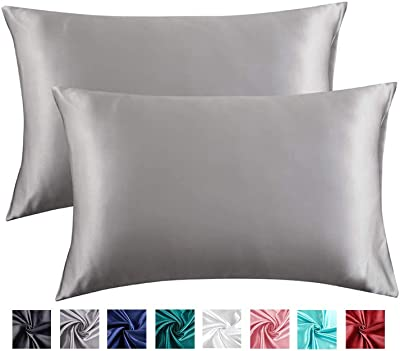 Miruxia 2-Pack Satin Pillowcases for Hair and Skin,Satin Pillow Covers with Envelope Closure(Grey,King Size20 x36 Inches)