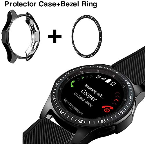 KPYJA Case for Galaxy Watch 46mm/Galaxy Gear S3 Frontier & Classic Stainless Steel Bezel Ring, Protective TPU Cover Bezel Loop Adhesive Cover Anti Scratch for Galaxy Watch Accessory(Black)
