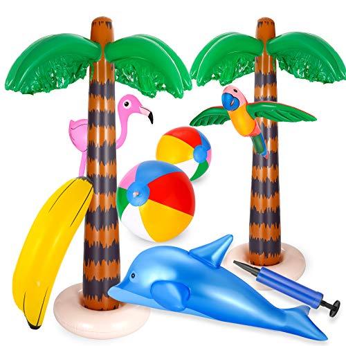 Ucradle 9 Stück aufblasbares Palmen Kokosnussbaum Set mit Luftpumpe, Strandspielzeug-Set inkl. Kokosnussbaum Banane Flamingo Papageien Delphin Strandball für Sommer Schwimmbad Hawaii Deko Themenparty