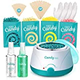 Waxing Kit for Women - Wax Warmer with 4 Bags Painless Hard Wax Beans Before After Spray Hair Removal Kit 20 Wax Applicator Sticks At Home Waxing Kit for Eyebrow Armpit Bikini Brazilian