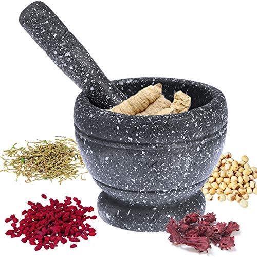 Stößel und Mörser Set, Unpolished Granit, Grind, Crush und Brei Gewürze, einfach zu bedienen und zu reinigen, für Kräuter, Gewürze, Kaffeebohnen, Tee