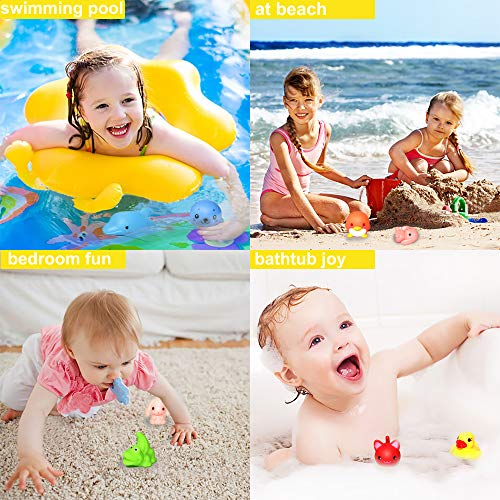 Bath Toys, 8 Packs Light-Up Floating Pool Fun Unicorn Dolphin Toys, 7 Color Flashing Bathtub Water Toys For Baby Toddlers Kids Infants Boys Girls Animal Toy Set