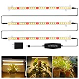LED Grow Light Strips 3500K 90-Bulb Full Spectrum Dimmable Plant Growing Lamp Bars with Timer for Indoor Plants Succulents Seedlings Seeds Veg