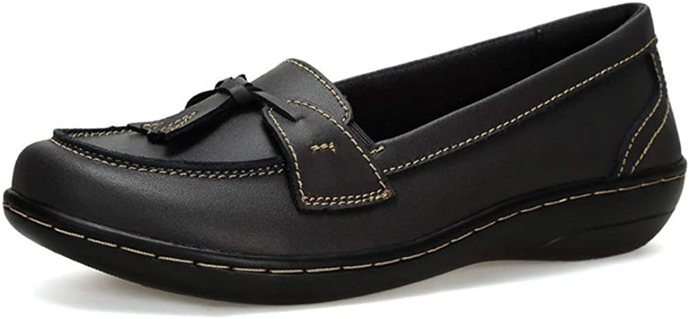 Flats Shoes Loafers for Women, Classic Leather Loafers Casual Slip-On Boat Shoes Fashion Comfort Flat Driving Walking Moccasins Soft Sole