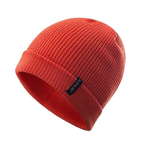 Gorros Lana Unisex Hombres/Mujeres Invierno Cálido Gorros de Punto Al Aire Libre de Felpa Engrosamiento Sombrero de Punto Sombrero de Esquí para el Invierno (Nanranja)