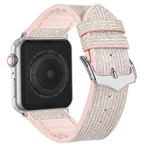 Compatible with Apple Watch Band 38mm 40mm 42mm 44mm, CTYBB Blingbling Sweatproof Genuine Leather and Silicone Band for iWatch SE Series 6 5 4 3 2 1, (Glitter Silver/Silver, 38mm 40mm)