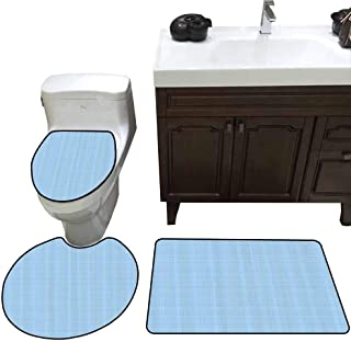 3 Piece Toilet mat Set Abstract Traditional Pastel Toned Checkered Pattern with Straight Horizontal Lines UK Print U-Shaped Toilet Mat Light Blue