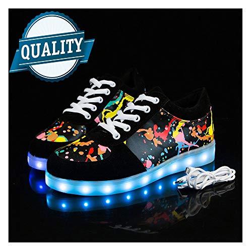 WXBYDX Blinkende Schuhe,Leuchtende Schuhe, 7 Farben LED Schuhe USB Aufladen Leuchtschuhe Licht Blinkschuhe Sport Sneaker Light Up Turnschuhe Damen Herren Shoes Größe(35-44) black-40