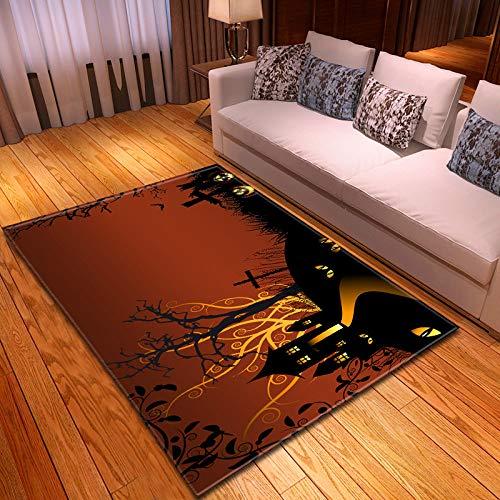 Tappeto Salotto,Arte Astratta Design Halloween Print Tappeto Cartoon Castle Tree Print Burgundy Red Modern Mat Decor For Kitchen Living Room Bedroom Comodino Entryway, 150X200Cm (59.06X70.87Inch)