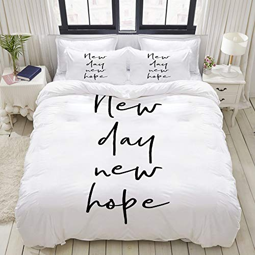 ALLMILL Estilo de caligrafía New Day New Hope Mensaje Dibujado a Mano Ilustración monocromática,Juego de Ropa de Cama con Funda nórdica de Microfibra y 2 Funda de Almohada - 200x 200 cm