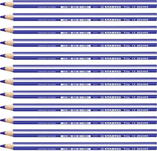 Lápiz de color triangular grueso STABILO Trio thick - Caja con 12 unidades - Color azul ultramar
