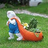 WONDHOME Outdoor Statues Garden Animals,Rabbit Shaped Flower Pot for Outdoor Garden Balcony Patio Home Office,Succulent Planter,Bunny Ornaments,Art Decorations,Decor Statue