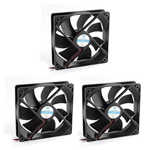 YeVhear Plastic 7 Fans DC Brushless Axial Machinery Cooling Fan Cooler Cooler, 2 conectores de alambre negro, 12 cm x 12 cm x 2,5 cm, 12 V, 3 unidades